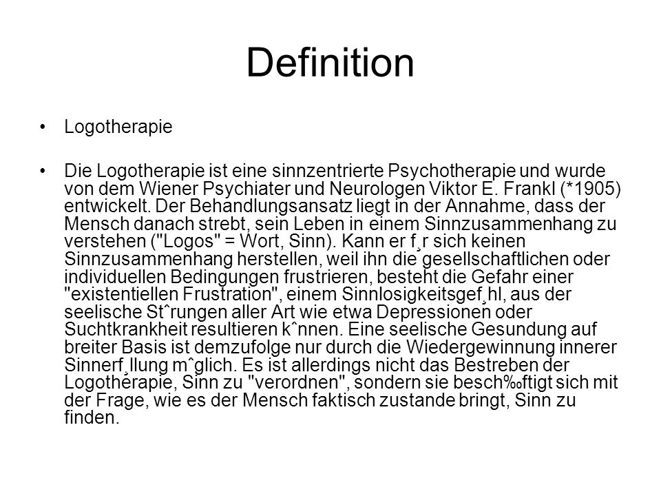 Definition Logotherapie