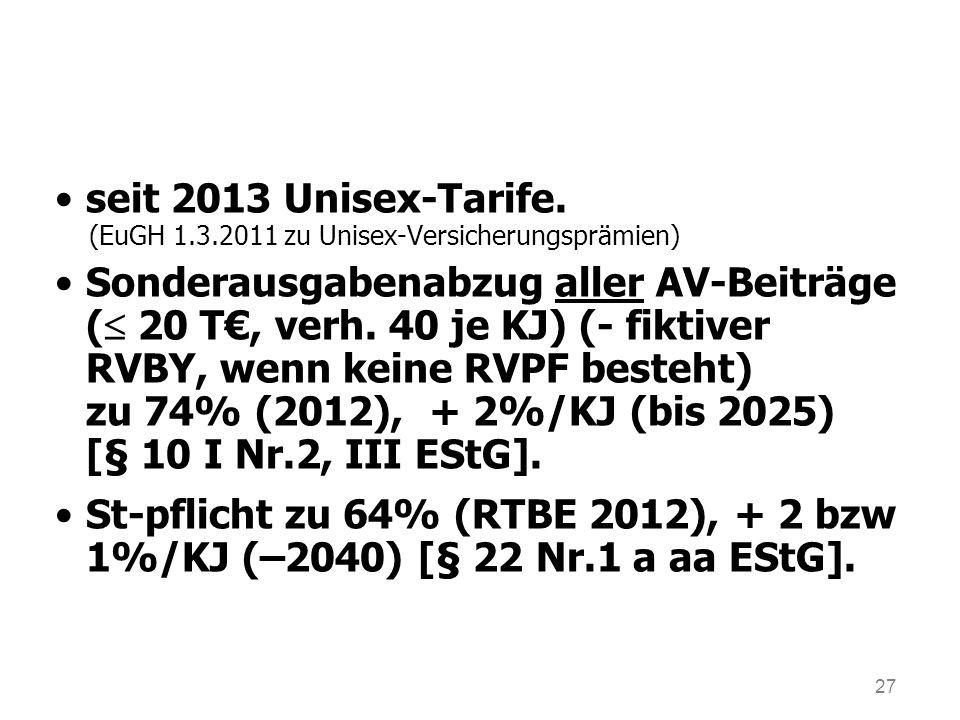 seit 2013 Unisex-Tarife. (EuGH 1.3.2011 zu Unisex-Versicherungsprämien)