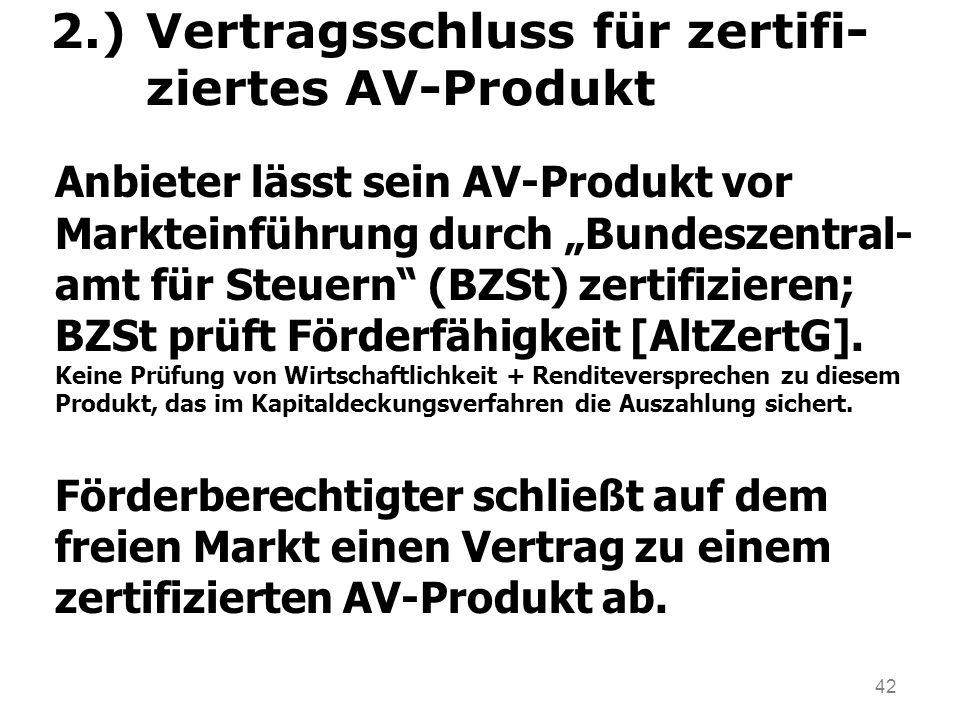 2.) Vertragsschluss für zertifi- ziertes AV-Produkt