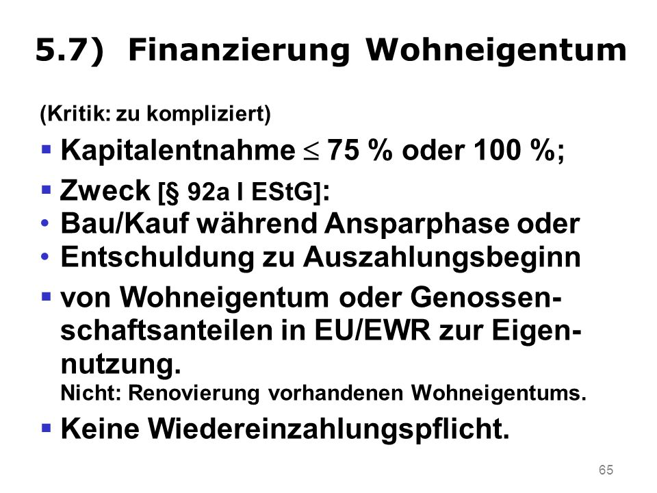 5.7) Finanzierung Wohneigentum