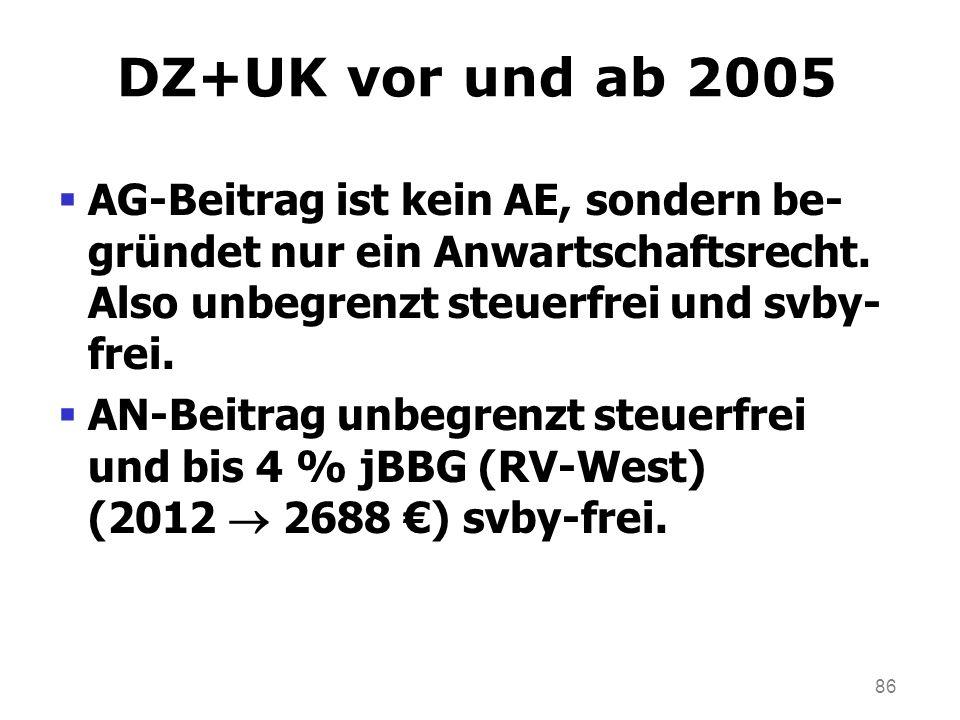 DZ+UK vor und ab 2005 AG-Beitrag ist kein AE, sondern be-gründet nur ein Anwartschaftsrecht. Also unbegrenzt steuerfrei und svby-frei.