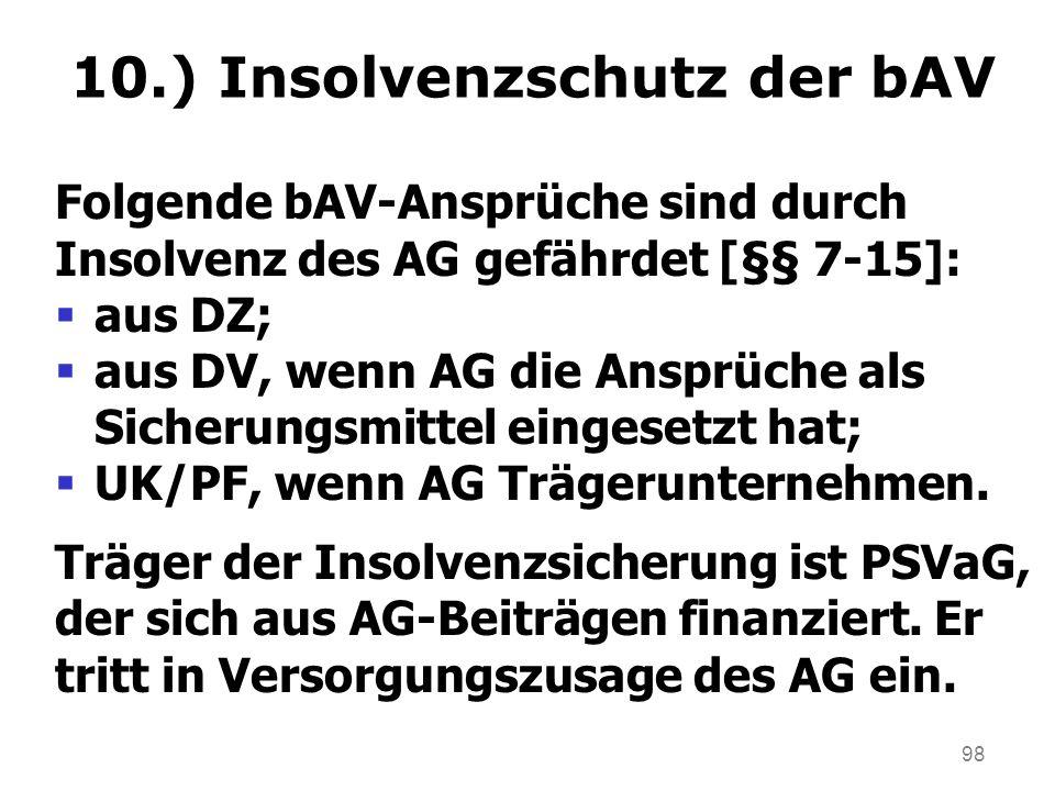 10.) Insolvenzschutz der bAV