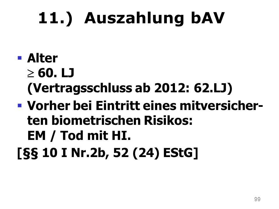11.) Auszahlung bAV Alter  60. LJ (Vertragsschluss ab 2012: 62.LJ)