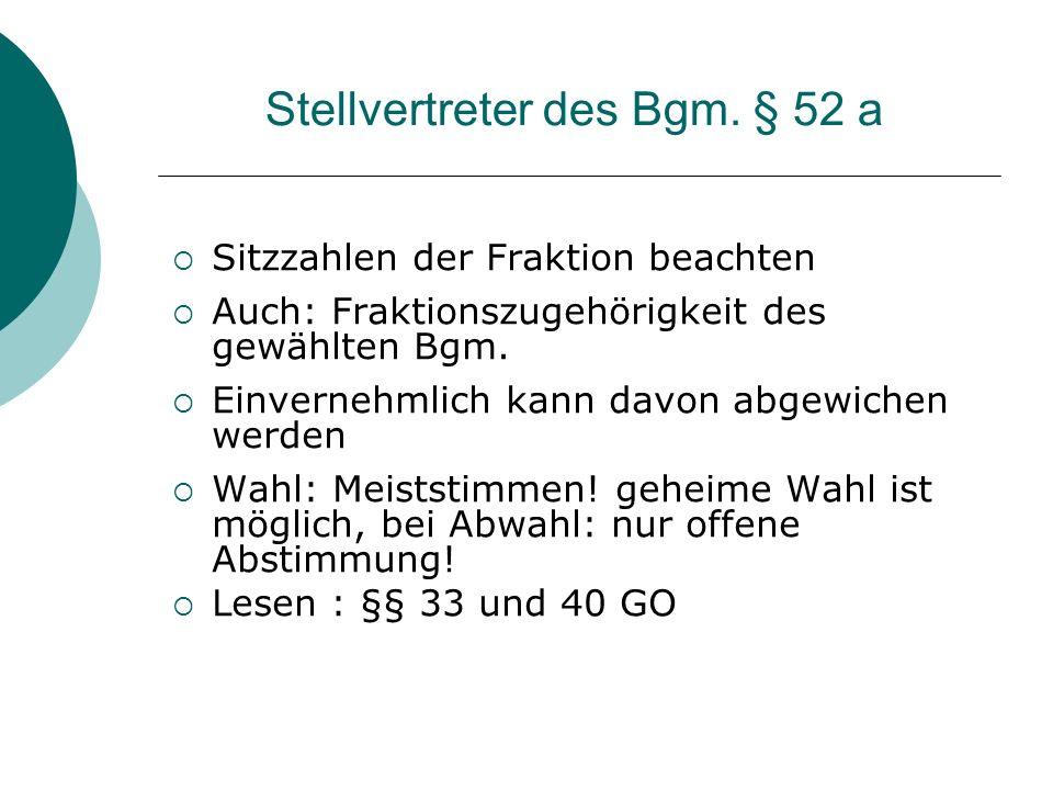 Stellvertreter des Bgm. § 52 a