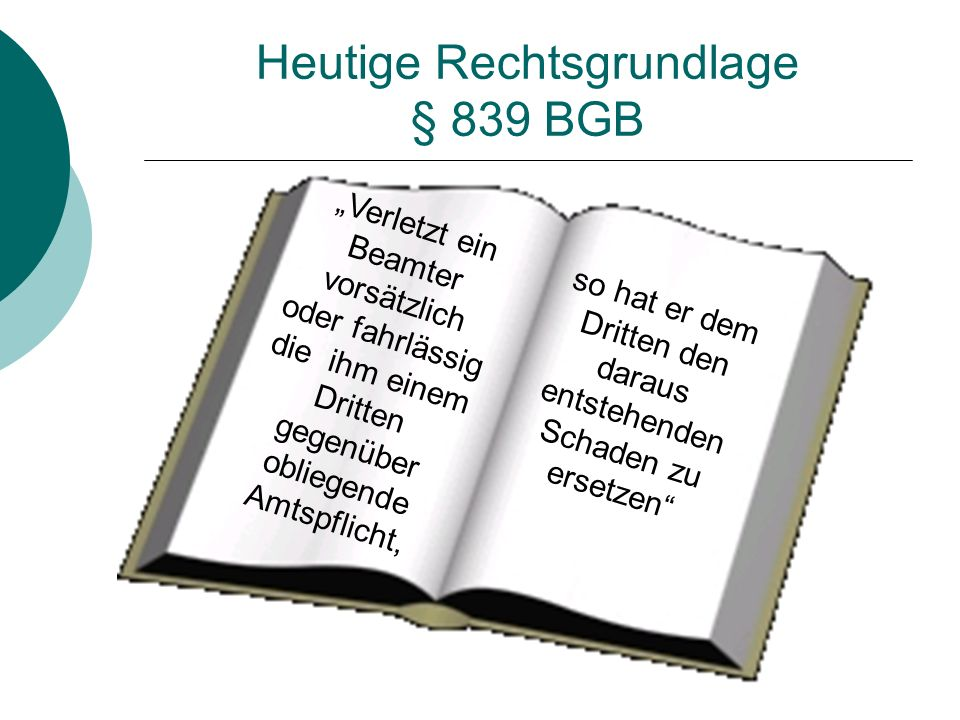 Heutige Rechtsgrundlage § 839 BGB
