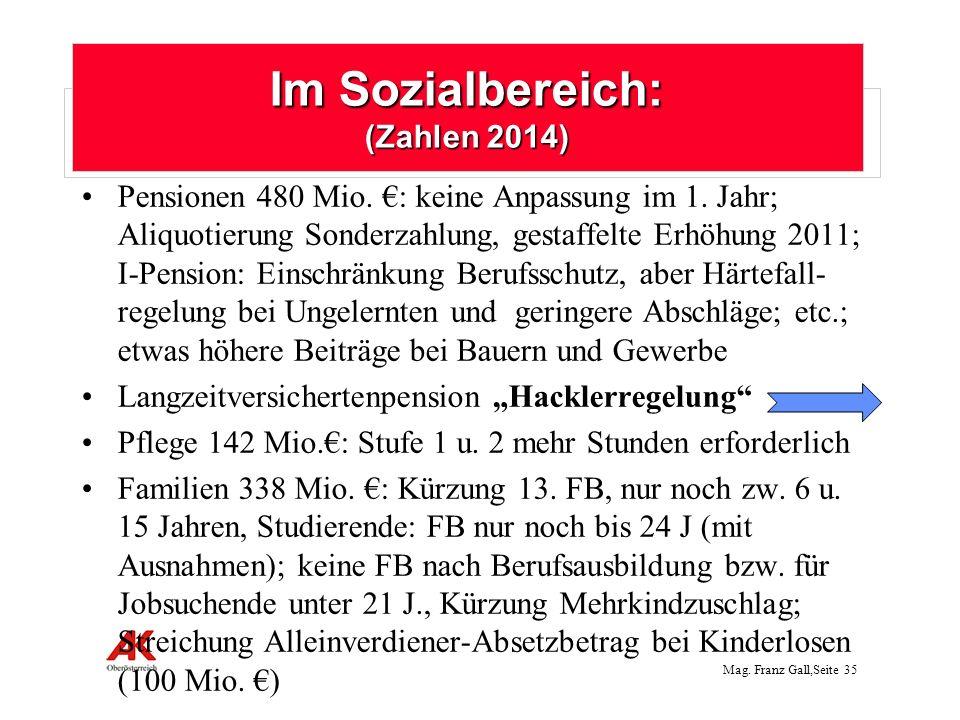 Im Sozialbereich: (Zahlen 2014)
