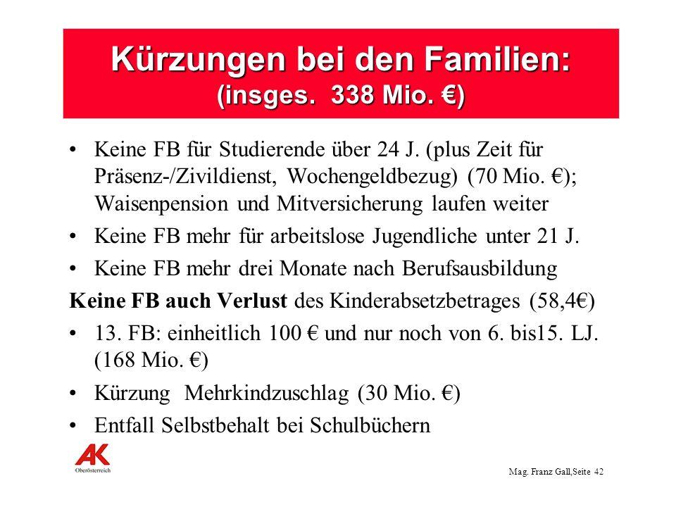 Kürzungen bei den Familien: (insges. 338 Mio. €)