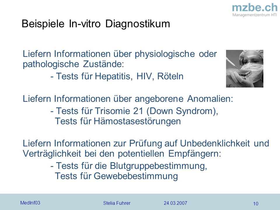 Beispiele In-vitro Diagnostikum