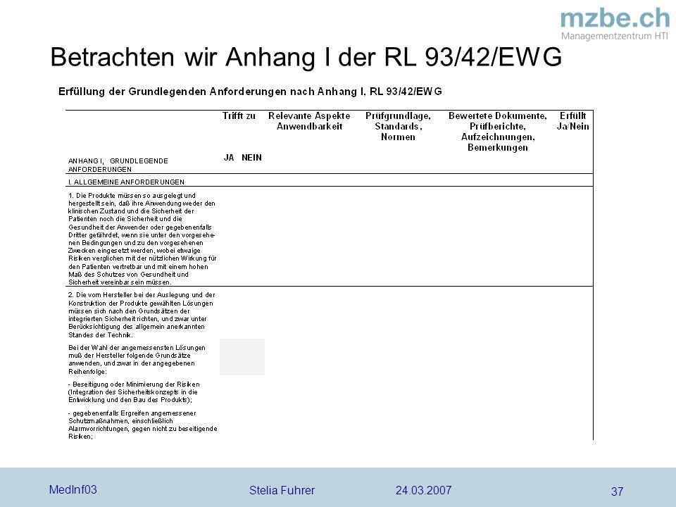 Betrachten wir Anhang I der RL 93/42/EWG