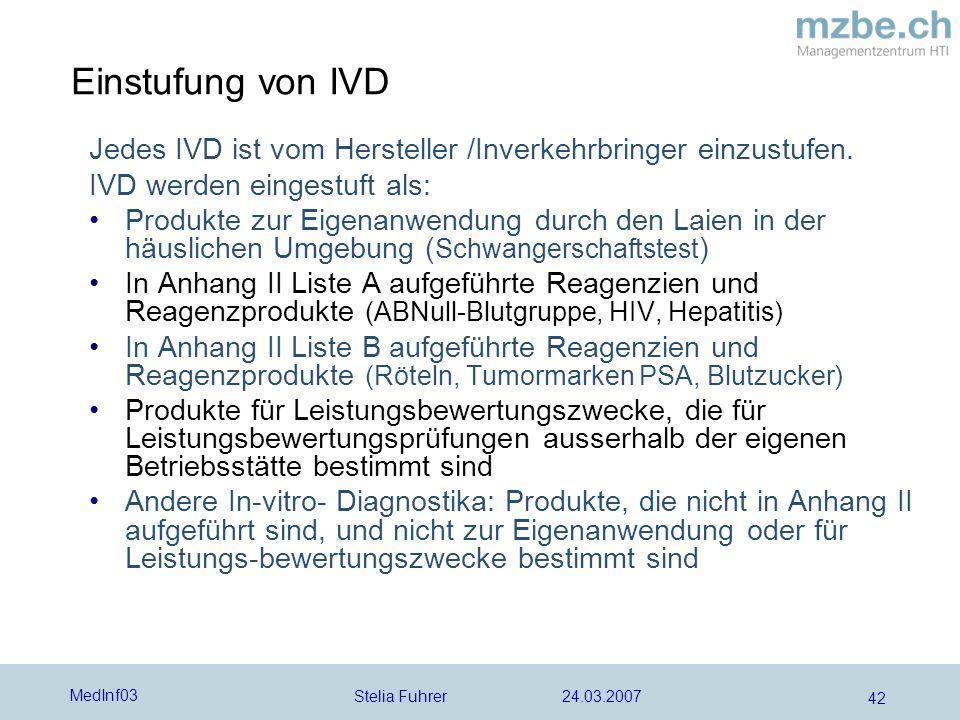 Einstufung von IVD Jedes IVD ist vom Hersteller /Inverkehrbringer einzustufen. IVD werden eingestuft als: