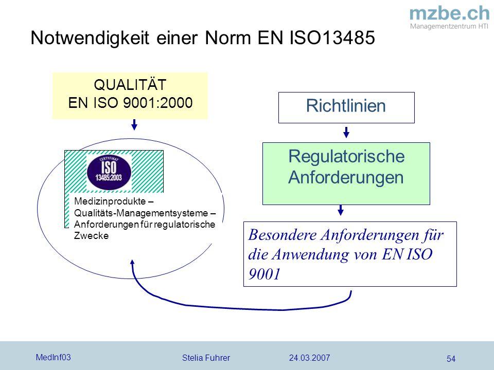 Notwendigkeit einer Norm EN ISO13485