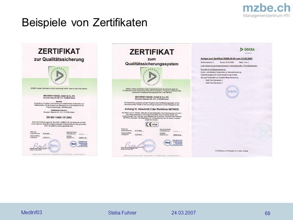 Beispiele von Zertifikaten