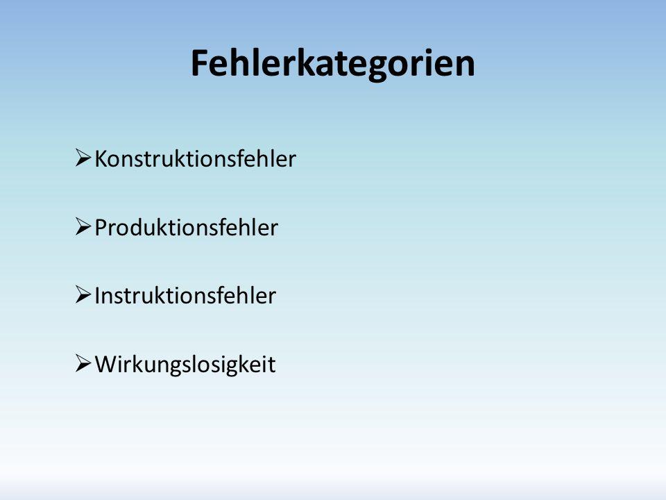 Fehlerkategorien Konstruktionsfehler Produktionsfehler
