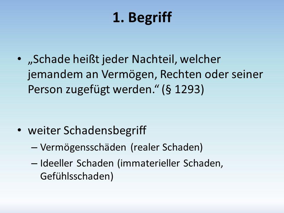 """1. Begriff """"Schade heißt jeder Nachteil, welcher jemandem an Vermögen, Rechten oder seiner Person zugefügt werden. (§ 1293)"""