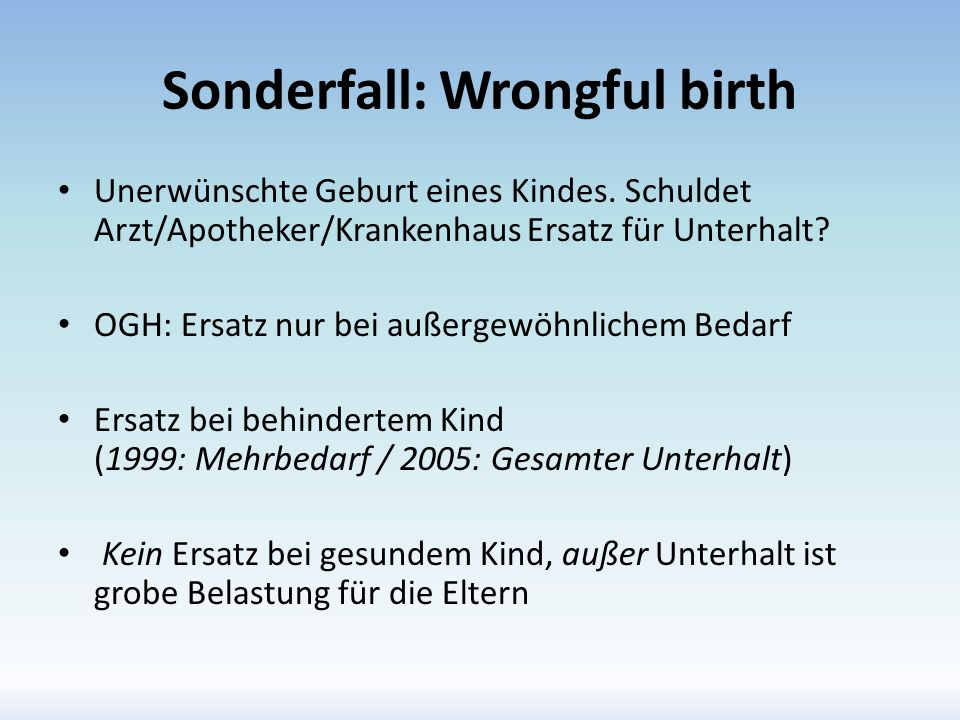 Sonderfall: Wrongful birth