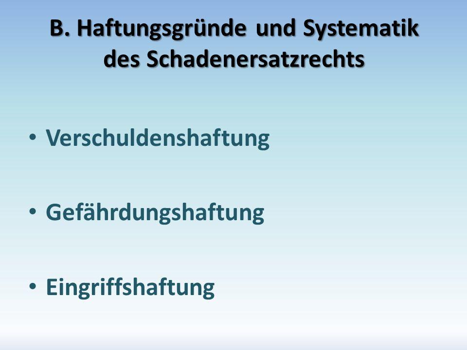 B. Haftungsgründe und Systematik des Schadenersatzrechts