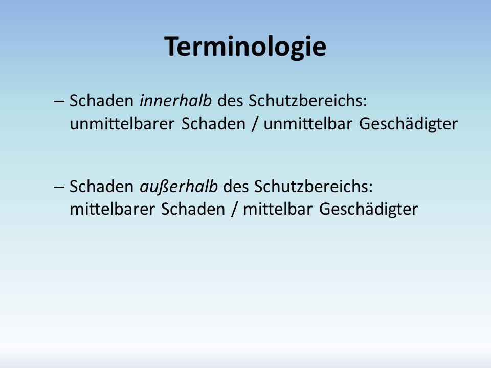 Terminologie Schaden innerhalb des Schutzbereichs: unmittelbarer Schaden / unmittelbar Geschädigter.