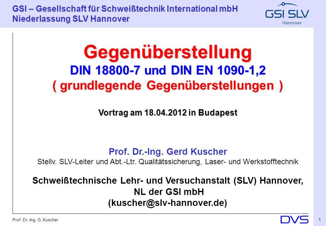 Gegenüberstellung DIN 18800-7 und DIN EN 1090-1,2