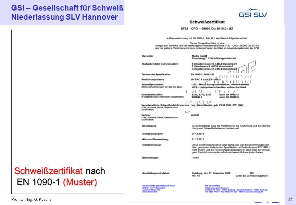 Schweißzertifikat nach EN 1090-1 (Muster)
