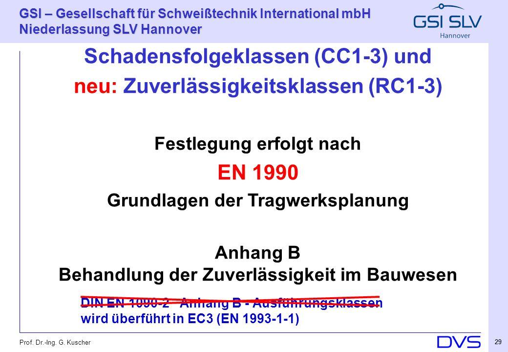 Schadensfolgeklassen (CC1-3) und neu: Zuverlässigkeitsklassen (RC1-3)