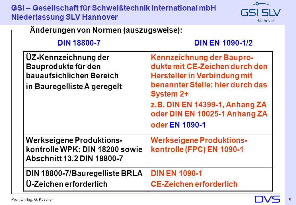 DIN 18800-7 DIN EN 1090-1/2 Änderungen von Normen (auszugsweise):