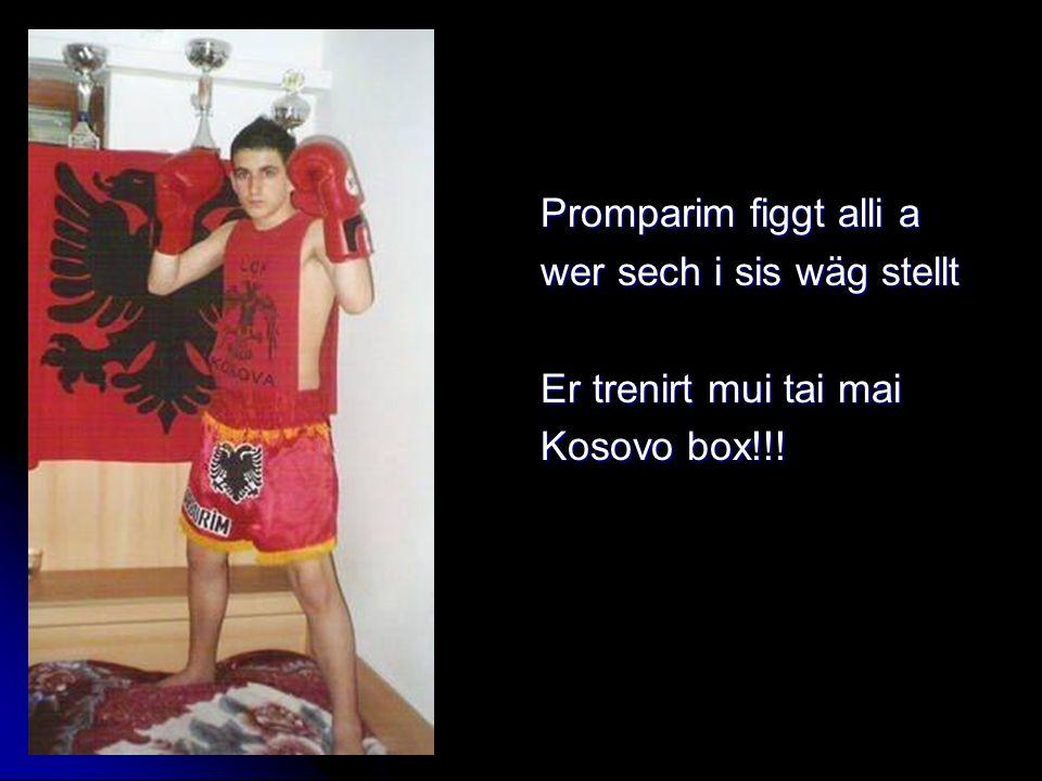 Promparim figgt alli a wer sech i sis wäg stellt Er trenirt mui tai mai Kosovo box!!!