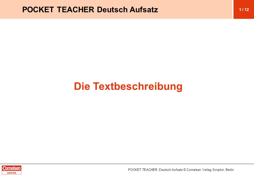 Die Textbeschreibung POCKET TEACHER Deutsch Aufsatz 1 / 12