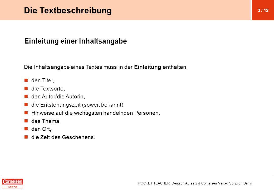 Die Textbeschreibung Einleitung einer Inhaltsangabe