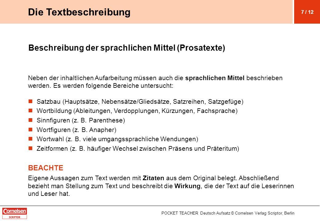 Die Textbeschreibung Beschreibung der sprachlichen Mittel (Prosatexte)