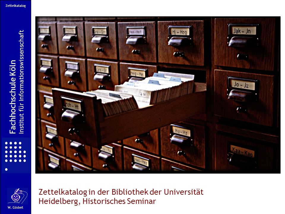 Zettelkatalog Institut für Informationswissenschaft. Fachhochschule Köln.