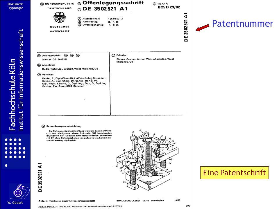 Patentnummer Fachhochschule Köln Eine Patentschrift