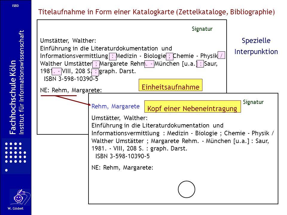 ISBD Titelaufnahme in Form einer Katalogkarte (Zettelkataloge, Bibliographie) Umstätter, Walther: