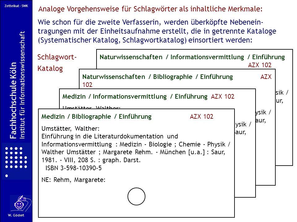 Zettelkat - SWK Analoge Vorgehensweise für Schlagwörter als inhaltliche Merkmale: