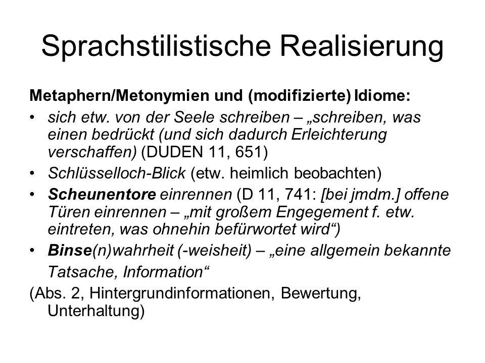 Sprachstilistische Realisierung