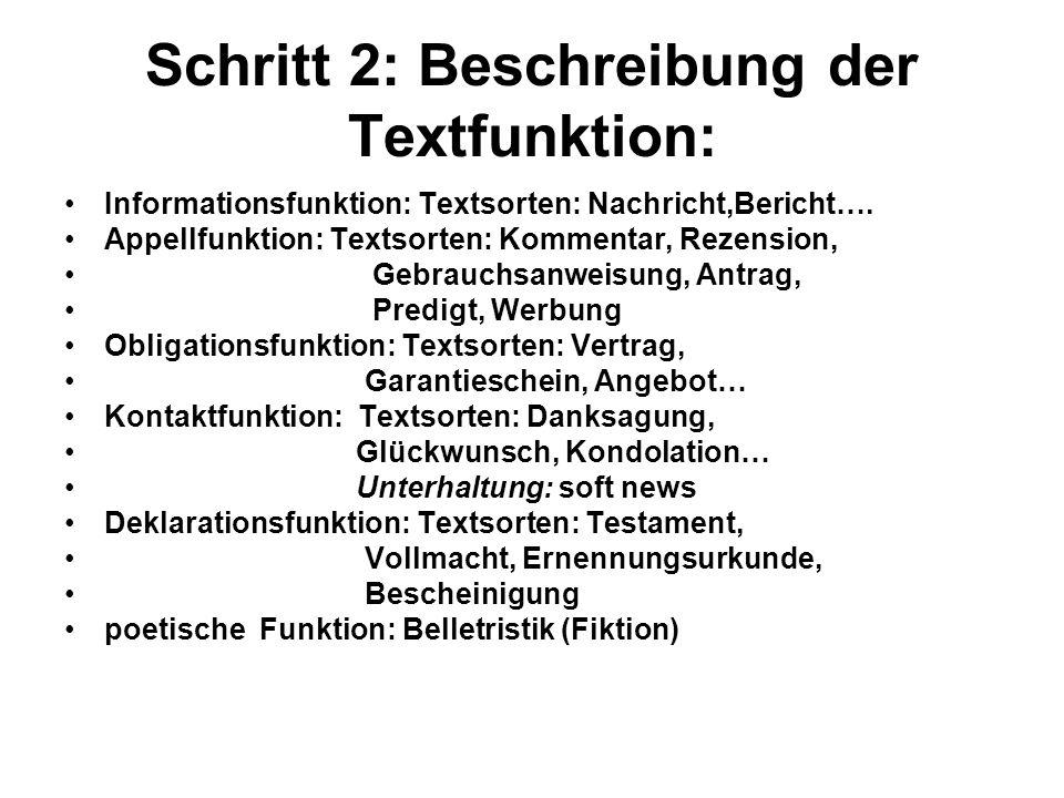 Schritt 2: Beschreibung der Textfunktion:
