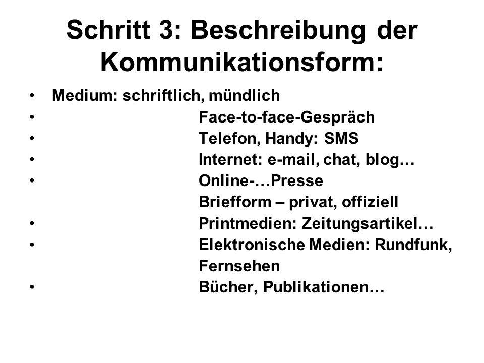 Schritt 3: Beschreibung der Kommunikationsform: