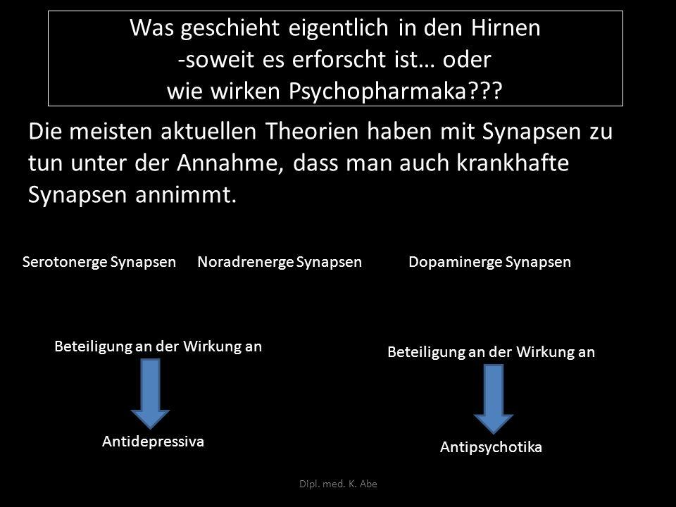 Was geschieht eigentlich in den Hirnen -soweit es erforscht ist… oder wie wirken Psychopharmaka
