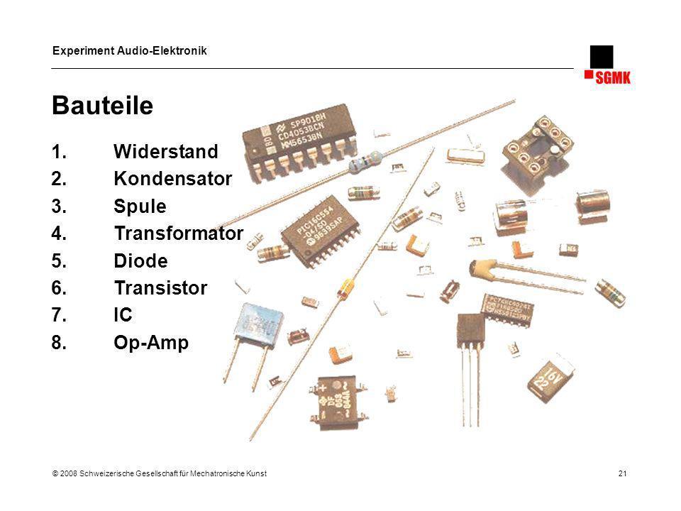 Bauteile Widerstand Kondensator Spule Transformator Diode Transistor
