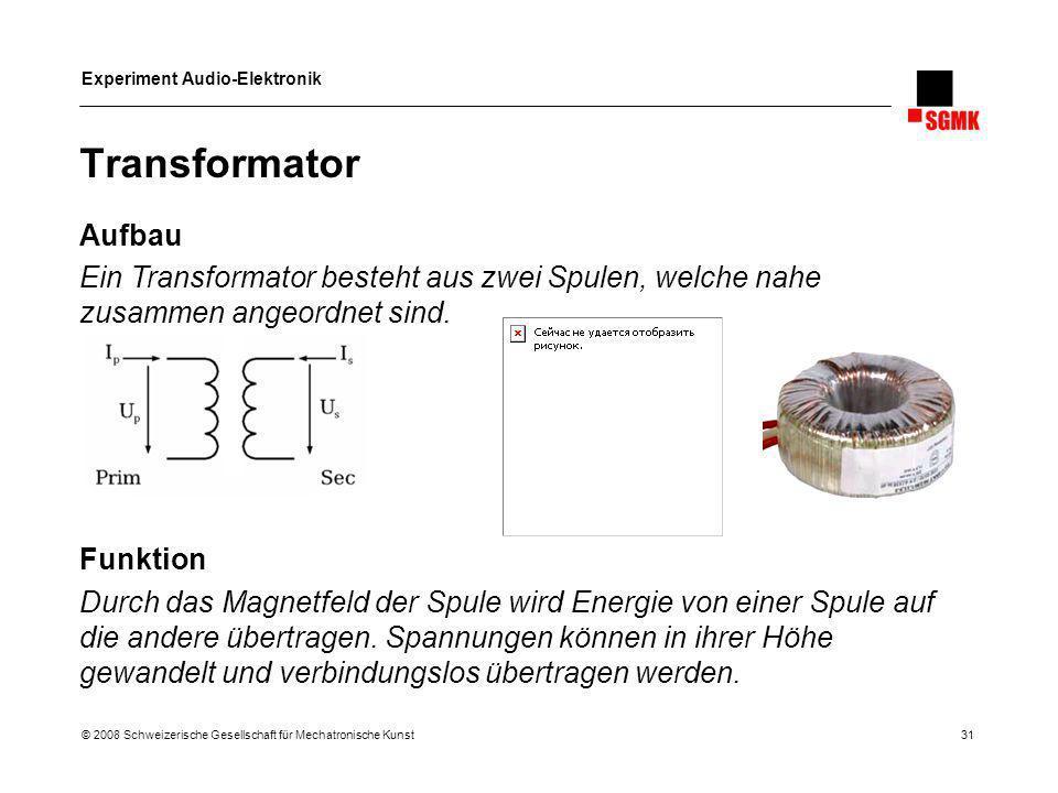 Transformator Aufbau. Ein Transformator besteht aus zwei Spulen, welche nahe zusammen angeordnet sind.