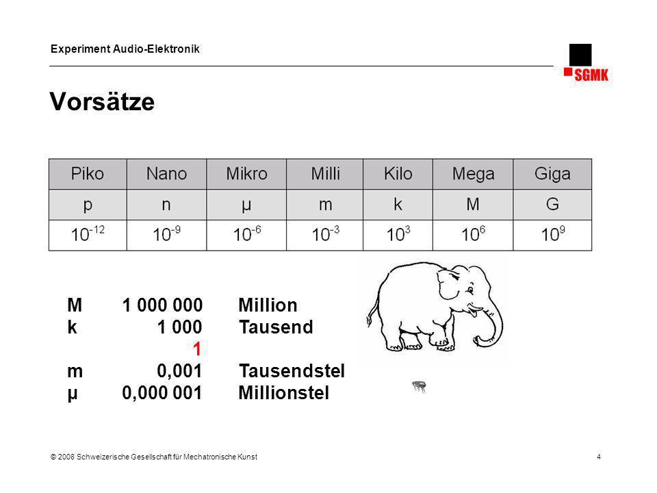 Vorsätze M 1 000 000 Million k 1 000 Tausend 1 m 0,001 Tausendstel