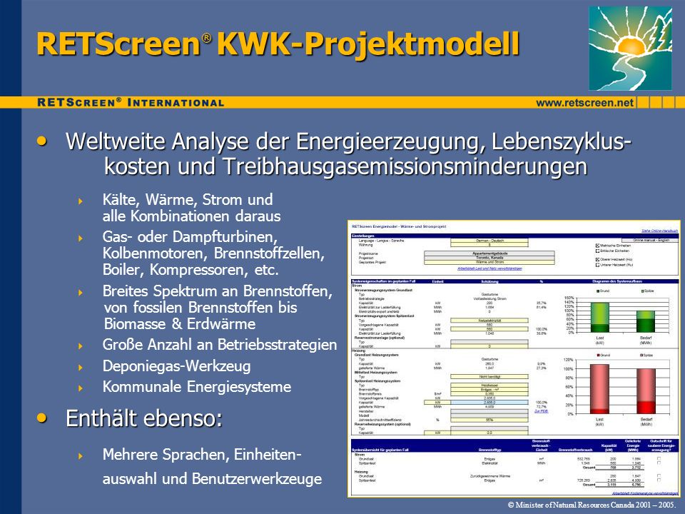 RETScreen® KWK-Projektmodell