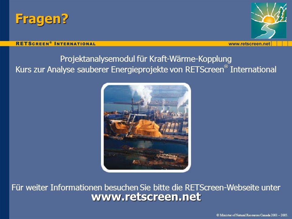 Fragen www.retscreen.net Projektanalysemodul für Kraft-Wärme-Kopplung