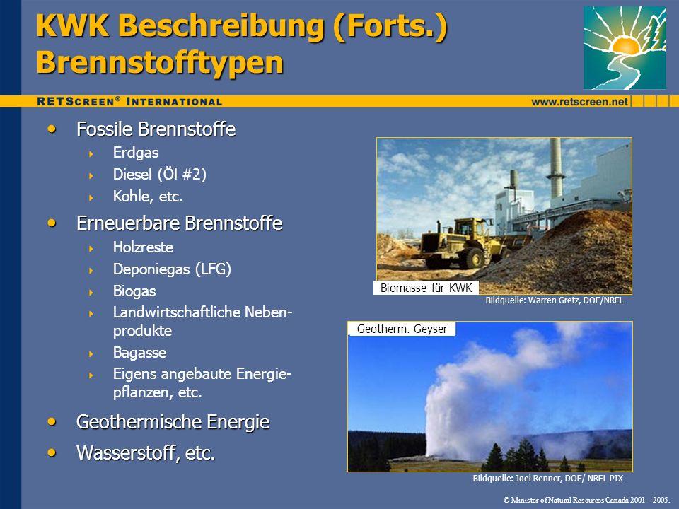 KWK Beschreibung (Forts.) Brennstofftypen