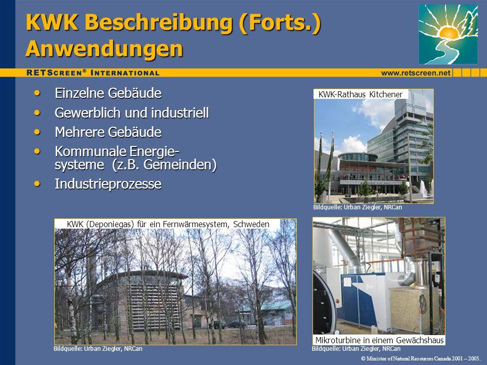 KWK Beschreibung (Forts.) Anwendungen