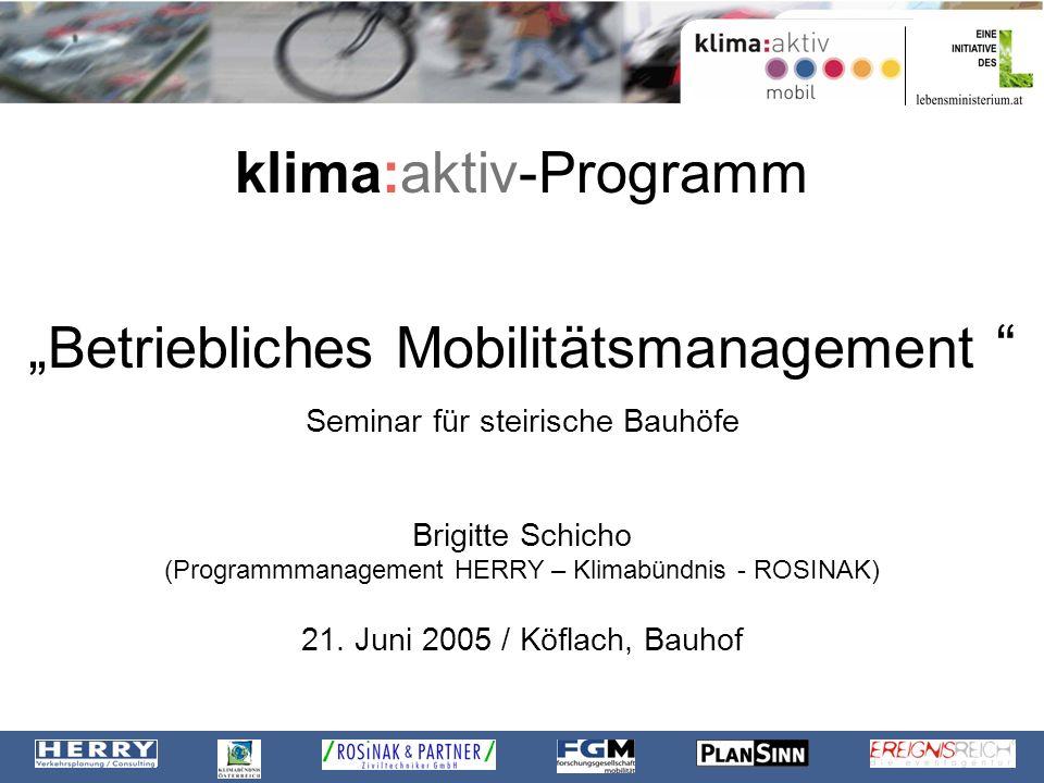 """klima:aktiv-Programm """"Betriebliches Mobilitätsmanagement"""