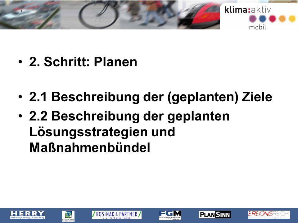 2. Schritt: Planen 2.1 Beschreibung der (geplanten) Ziele.