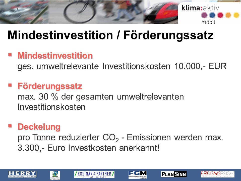 Mindestinvestition / Förderungssatz