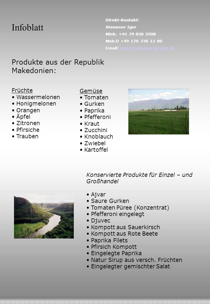 Infoblatt Produkte aus der Republik Makedonien: Früchte Wassermelonen