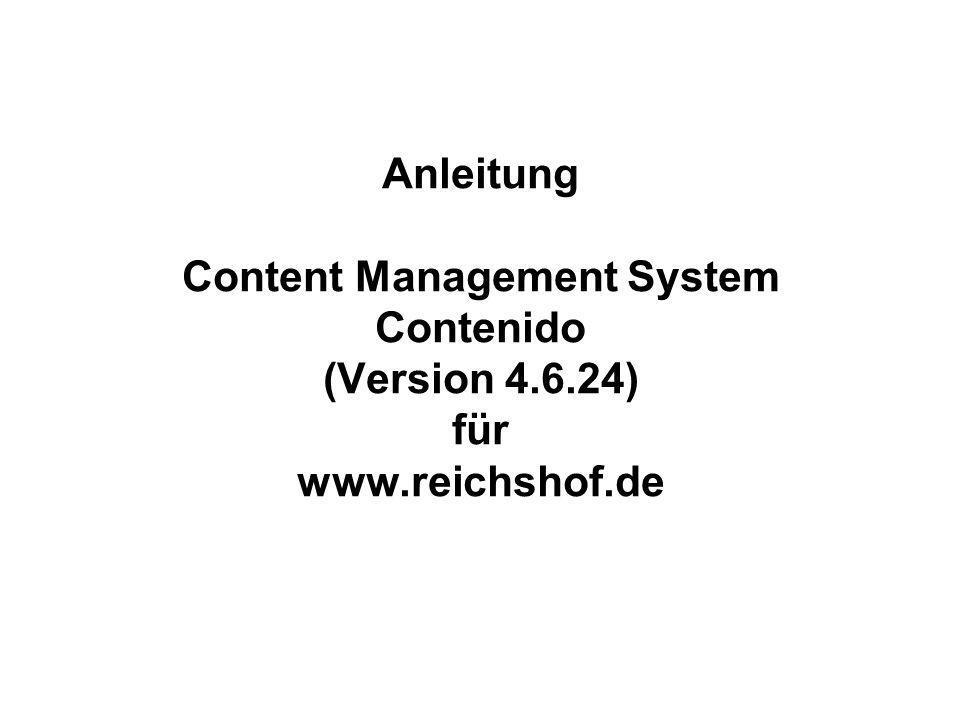 Anleitung Content Management System Contenido (Version 4. 6
