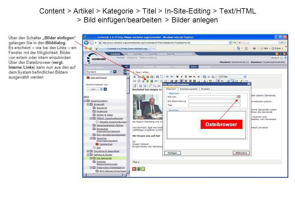 Content > Artikel > Kategorie > Titel > In-Site-Editing > Text/HTML > Bild einfügen/bearbeiten > Bilder anlegen
